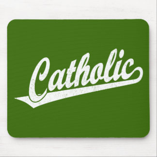 Catholic script logo  in white distressed mouse pad