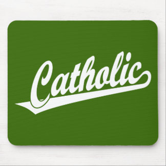 Catholic script logo in white mousepad