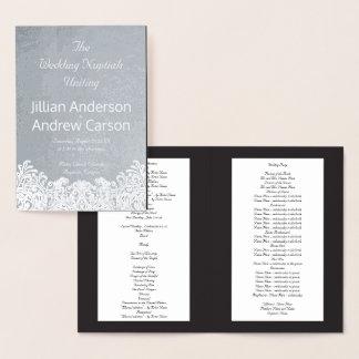 Catholic Wedding Program Silver Damask Template