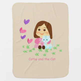 """""""Cathy and the Cat"""" takes care of your baby Baby Blanket"""