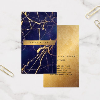 Catina Blue Navy Grungy Gold Marble Vip3 Business Card