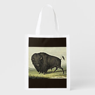 catlin buffalo bull grazing reusable grocery bag