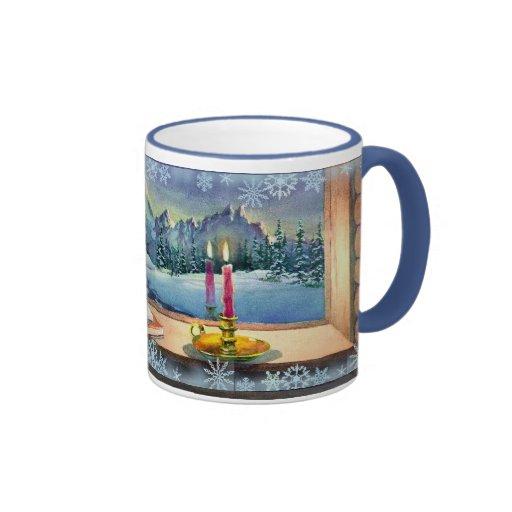 CATNAP & SNOWFLAKES by SHARON SHARPE Ringer Coffee Mug