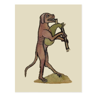 Catpipes/Dog playing cat bagpipes Postcard
