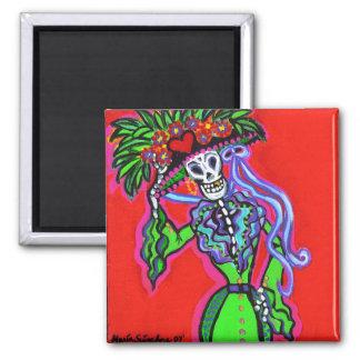 Catrina Corazon Verde Square Magnet