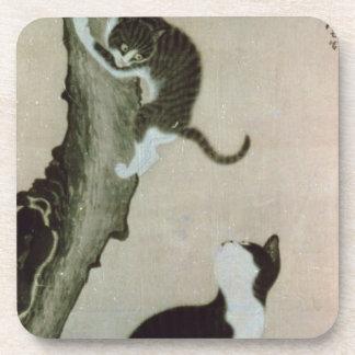 Cats, 17th century (ink on silk) coaster