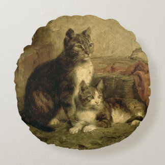 Cats, 1883 round pillow
