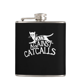 cats against catcalls hip flask