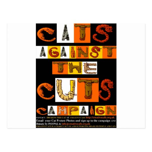 Cats against the Cuts Campaign Postcard