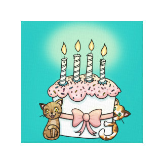 Cats and cake Birthday Gallery Wrapped Canvas