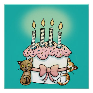 Cats and cake Birthday Poster