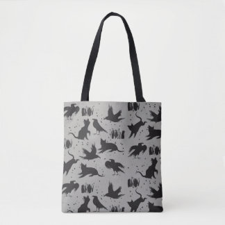 Cats and Crows Black and Gray Tote