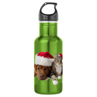 Cats and dogs - Christmas cat - christmas dog 532 Ml Water Bottle