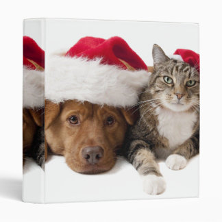 Cats and dogs - Christmas cat - christmas dog Binder