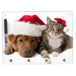 Cats and dogs - Christmas cat - christmas dog Dry Erase Board With Keychain Holder