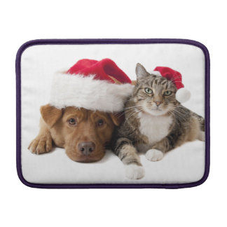 Cats and dogs - Christmas cat - christmas dog Sleeve For MacBook Air