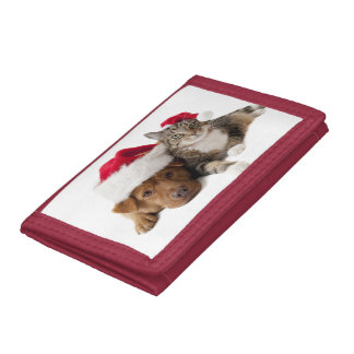 Cats and dogs - Christmas cat - christmas dog Tri-fold Wallet