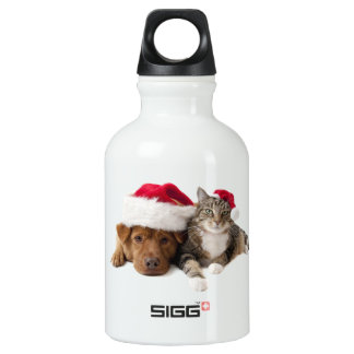 Cats and dogs - Christmas cat - christmas dog Water Bottle