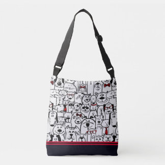 Cats and Dogs Cross Body Tote Bag