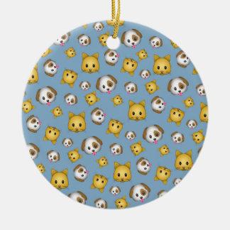 Cats and Dogs Emoji Pattern Ceramic Ornament