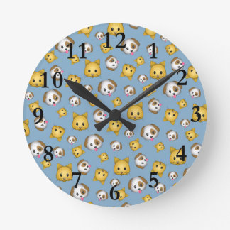 Cats and Dogs Emoji Pattern Round Clock