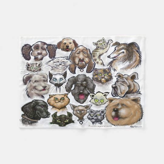 Cats and Dogs Fleece Blanket