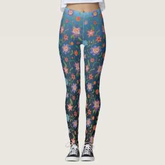 Cats and flowers on blue gradient backdrop leggings