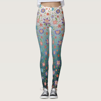 Cats and flowers with gradient backdrop leggings