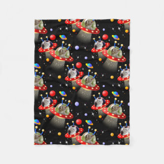 Cats and Kittens in UFOs spaceships flying saucers Fleece Blanket
