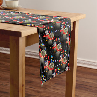 Cats and Kittens in UFOs spaceships flying saucers Short Table Runner