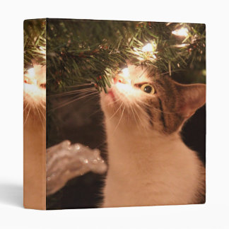 Cats and lights - Christmas cat -christmas tree 3 Ring Binders
