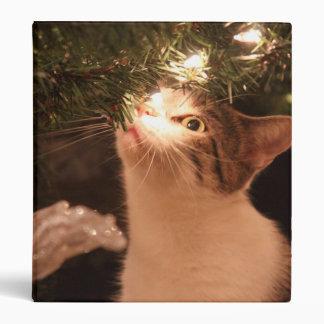 Cats and lights - Christmas cat -christmas tree Binders