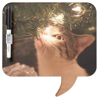 Cats and lights - Christmas cat -christmas tree Dry Erase Board