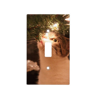 Cats and lights - Christmas cat -christmas tree Light Switch Cover