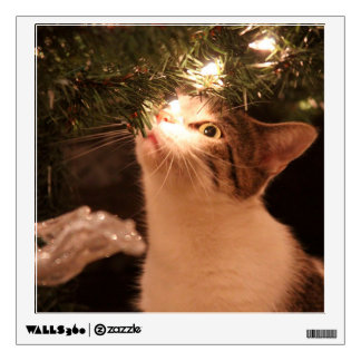 Cats and lights - Christmas cat -christmas tree Wall Sticker