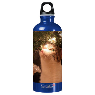 Cats and lights - Christmas cat -christmas tree Water Bottle