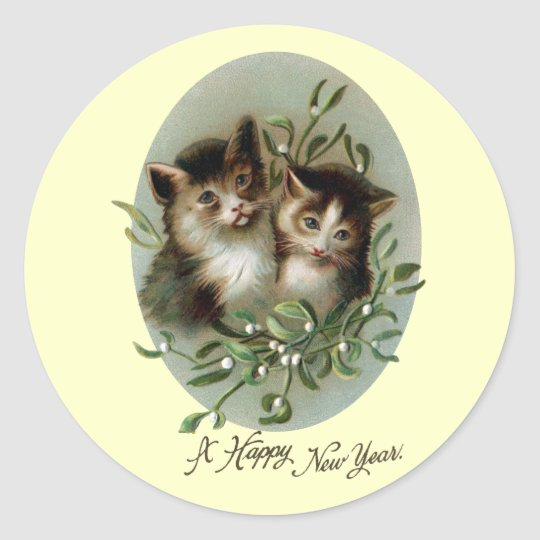 Cats and Mistletoe Vintage New Year Classic Round Sticker