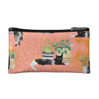 Cats and Plants Cosmetic Bag