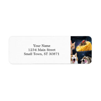 Cats and the mouse on the cheese return address label