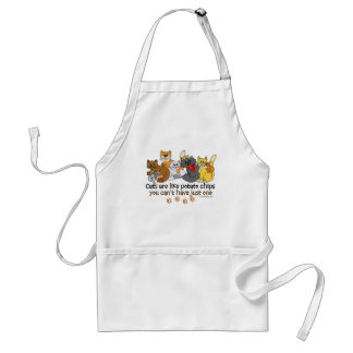 Cats are like potato chips adult apron