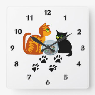 Cats At Play Square Wall Clock