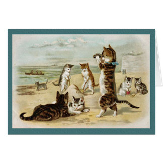 Cats At The Beach - Vintage Helena Maguire Card