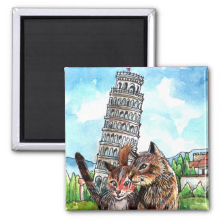 Cats at the Tower of Pisa Magnet