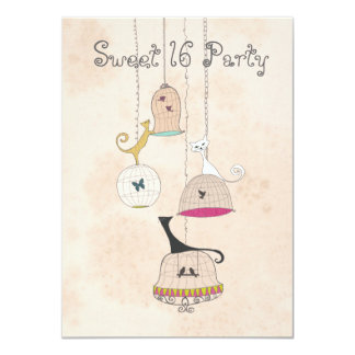Cats Birdcages Sweet 16 Party Invites
