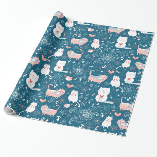 Cats, Birds & Hearts Wrapping Paper