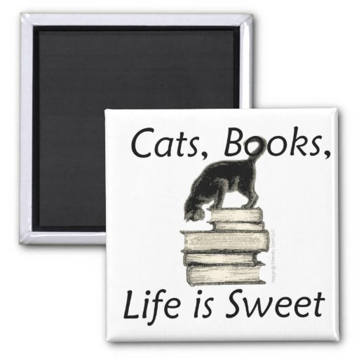 Cats Books Life is Sweet Magnets
