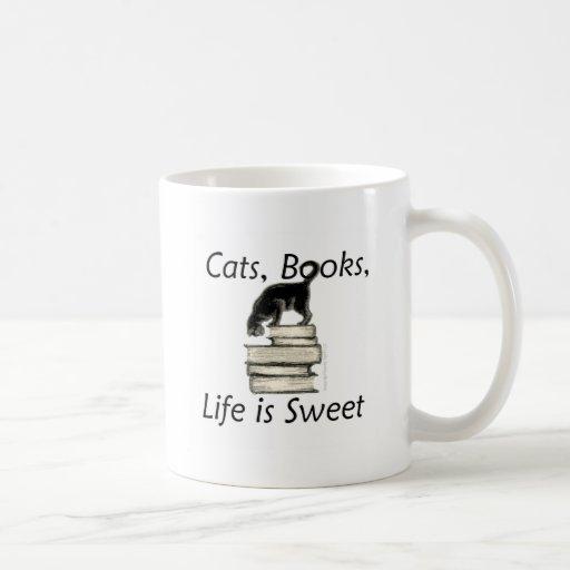 Cats Books Life is Sweet Coffee Mugs