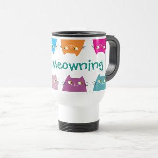 Cats Bright Neon Colors Good Meowning Cute Funny Travel Mug