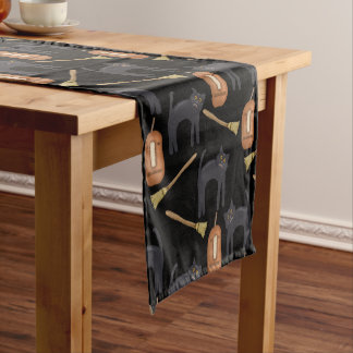 Cats, Brooms and Pumpkins | Halloween Short Table Runner