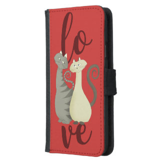 Cats Cartoon Love Red Galaxy S5 Wallet Case